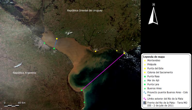 Vista satelital del Río de la Plata